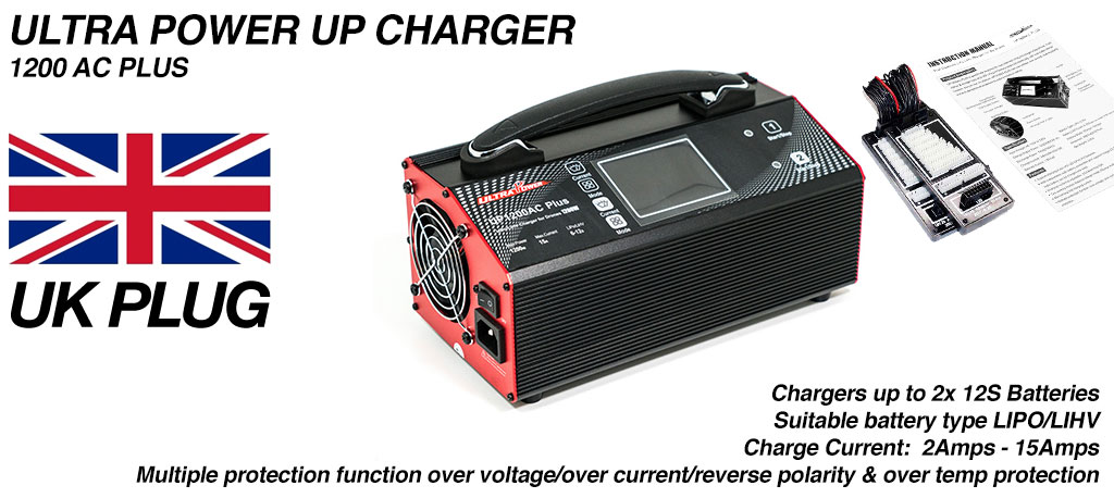 ULTRA POWER Charger 2x 600W, 15A, 12s Charger - UP1200AC PLUS - COMES Supplied with UK wall PLUG