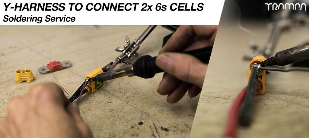 CAS Y-Harness soldering charge to connect 2x6s cells together to go into the VESC