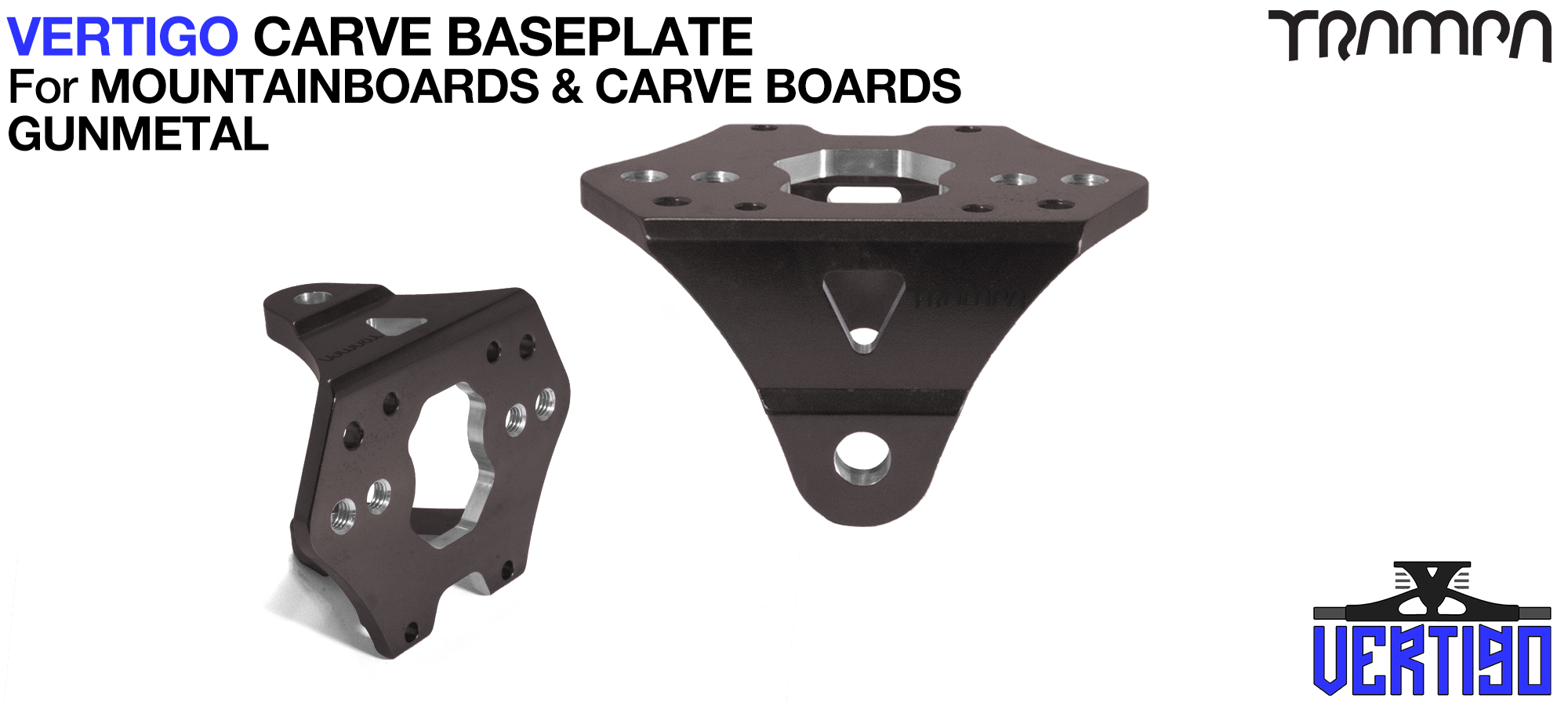 VERTIGO Baseplate GUNMETAL - T6 Aluminum Anodised & CNC lightened - Black logo  Carve