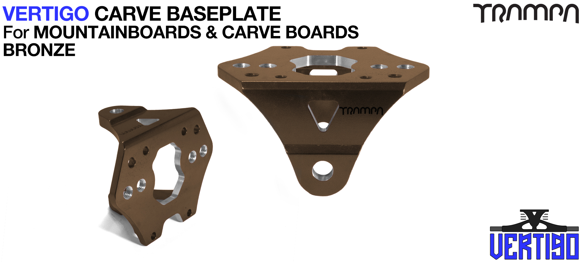 VERTIGO Baseplate BRONZE - T6 Aluminum Anodised & CNC lightened - Black logo  Carve