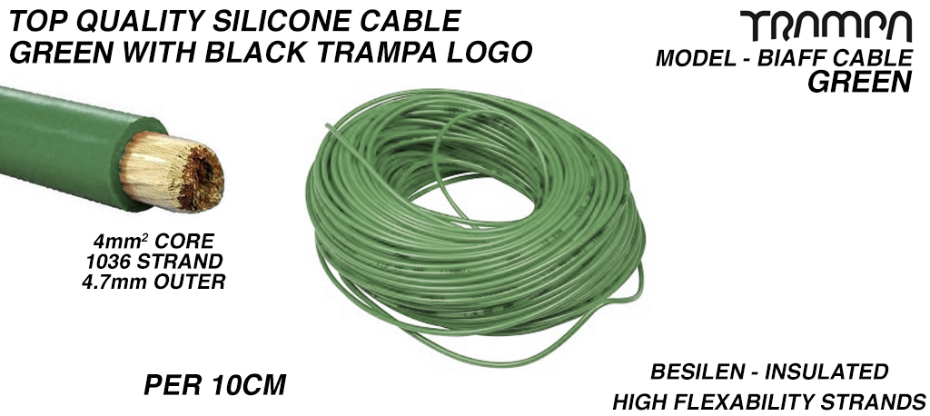 4mm GREEN Silicon Cable with BLACK TRAMPA logo 4mm Core Top Quality BIAFF electrical Cable price per 10cm