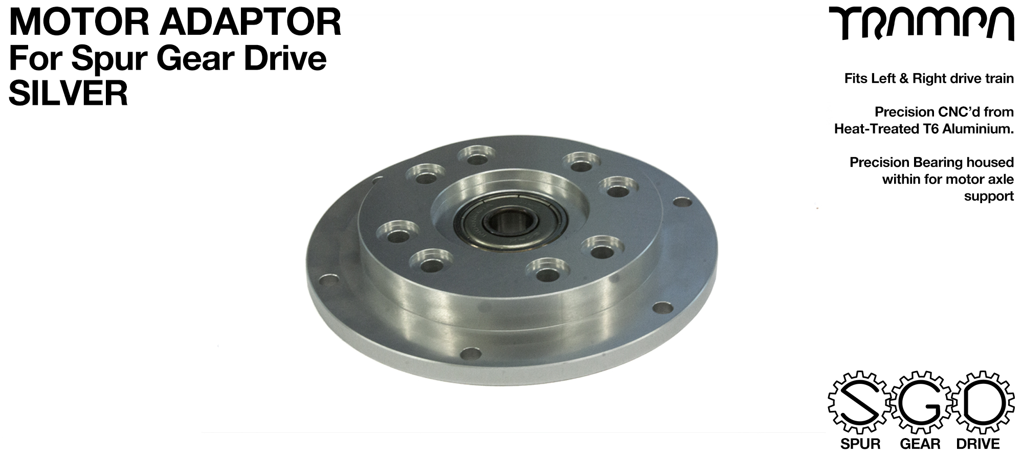 MkII Spur Gear Drive Motor mount Adaptor SILVER