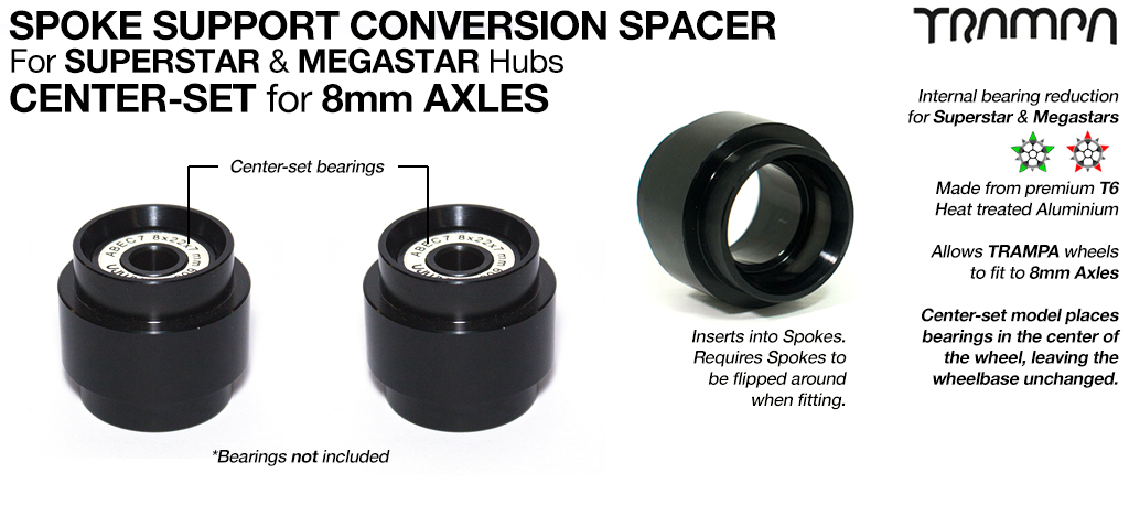 CENTRE SET Spoke Support conversion Spacer - 8mm Axels
