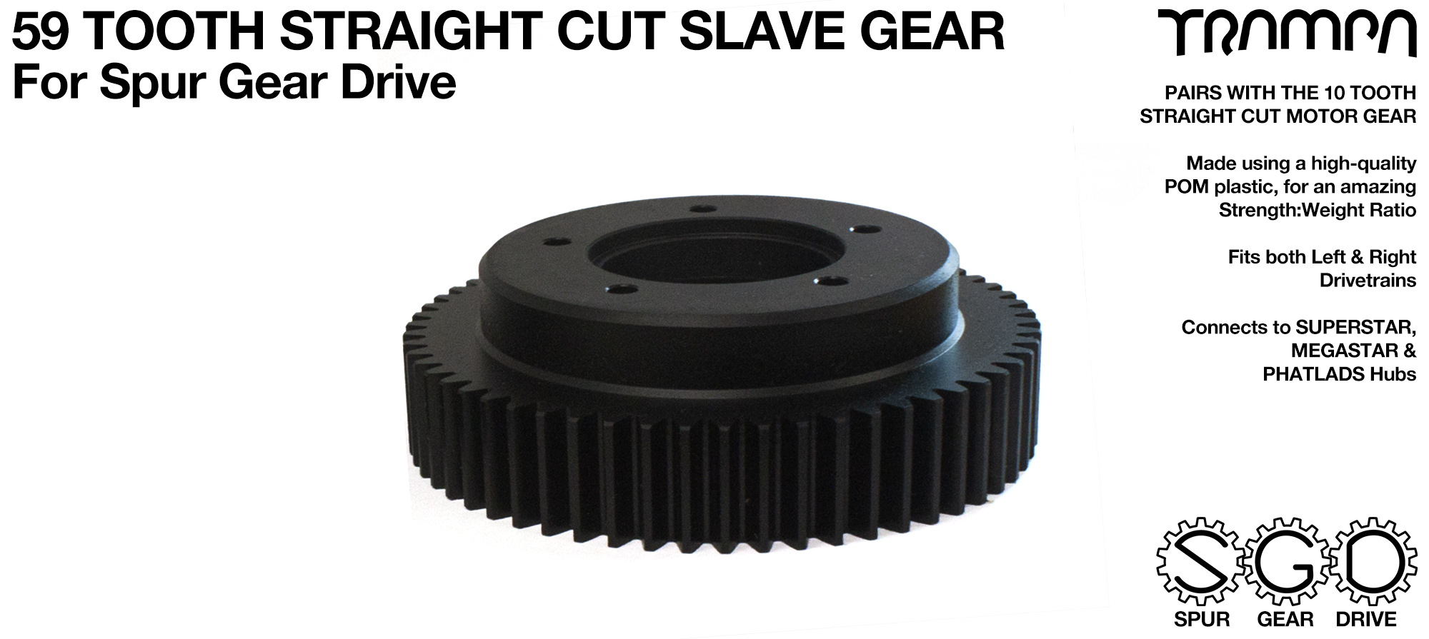 Spur Gear Drive 59 Tooth STRAIGHT Cut Slave Pulley - POM