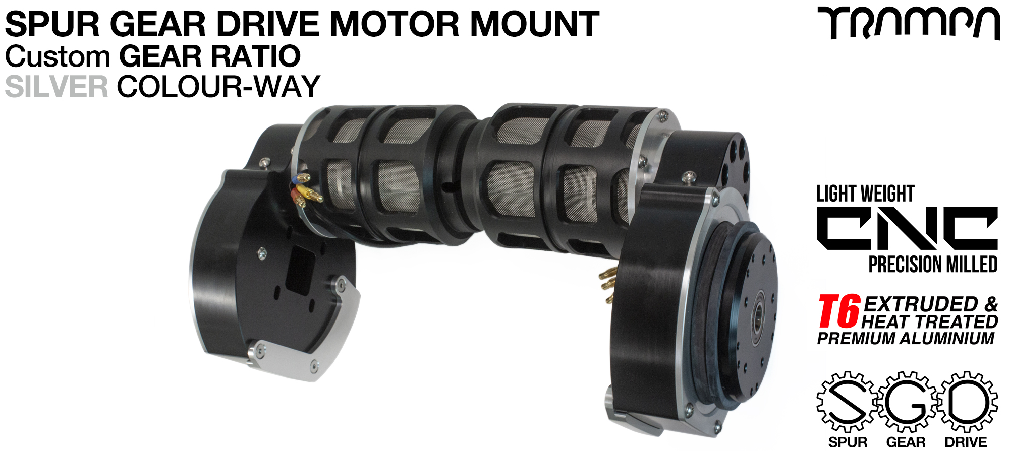 Mountainboard EXTERNAL Spur Gear Drive TWIN Motor Mounts