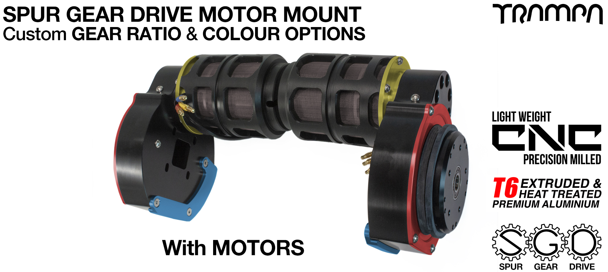 Mountainboard Spur Gear Drive TWIN Motor Mounts with CUSTOM Motors