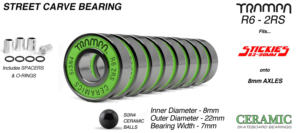 GREEN 9.525 x 22.225mm CERAMIC R6-2RS STREET Bearings (+£25)