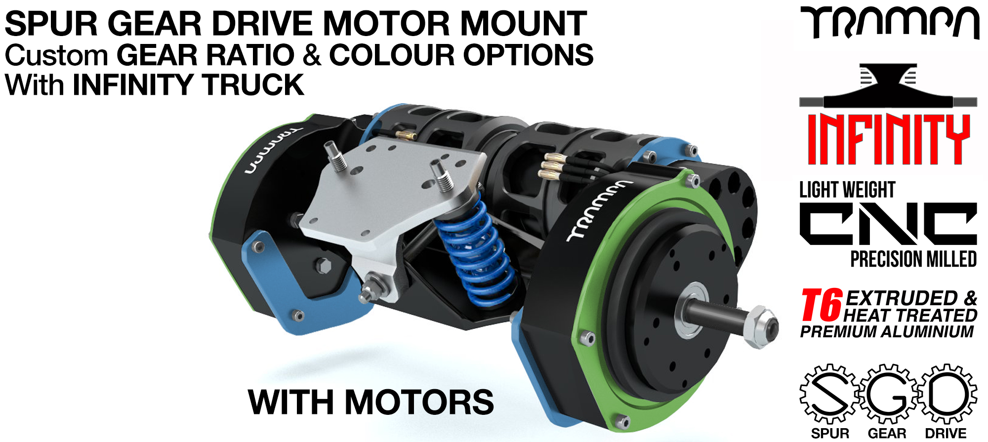Mountainboard EXTERNAL Spur Gear Drive TWIN Motor Mounts with Motors & INFINITY Truck