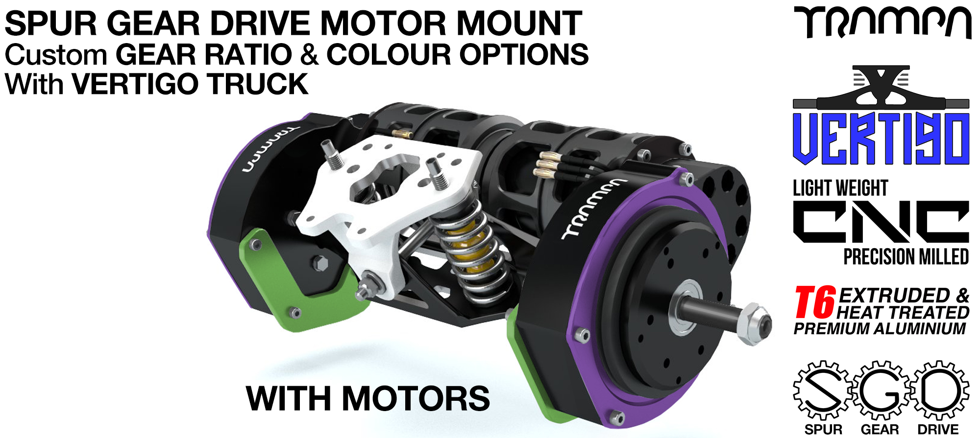 Mountainboard EXTERNAL Spur Gear Drive Motor Mount & VERTIGO Truck with Motors
