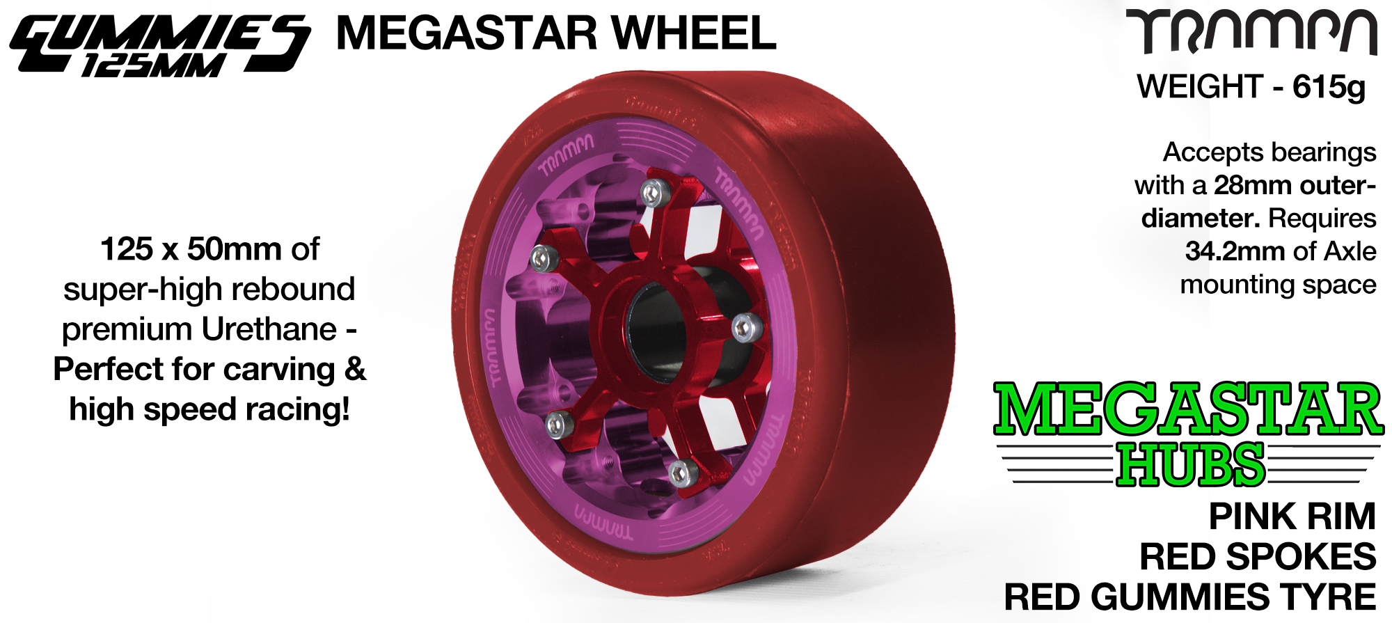 PINK MEGASTAR Rim with RED Spokes & RED Gummies  - The Ulrimate Longboard Wheel