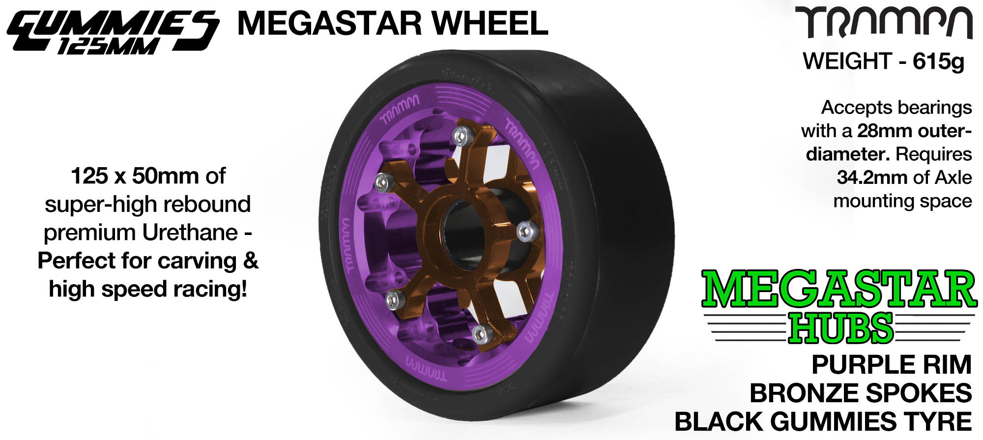 PURPLE MEGASTAR Rim with BRONZE Spokes & BLACK Gummies - The Ulrimate Longboard Wheel