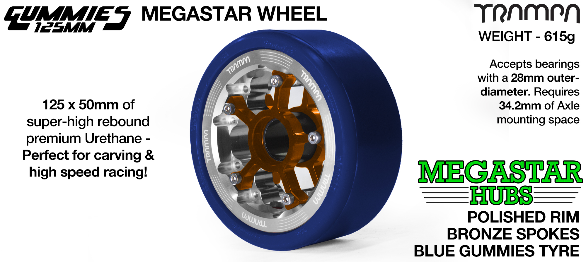 POLISHED MEGASTAR Rim with SILVER Spokes & BLACK Gummies - The Ulrimate Longboard Wheel