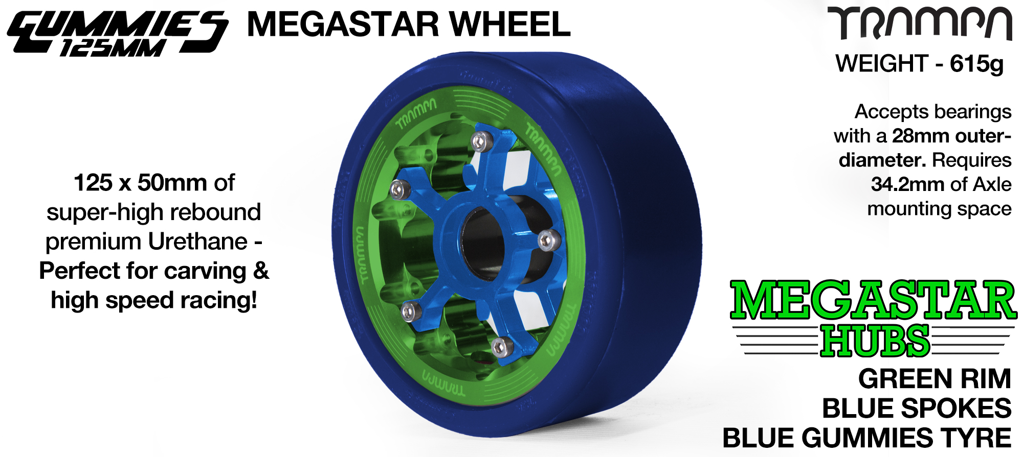 GREEN MEGASTAR Rim with BLUE Spokes with BLUE Gummies - The Ulrimate Longboard Wheel
