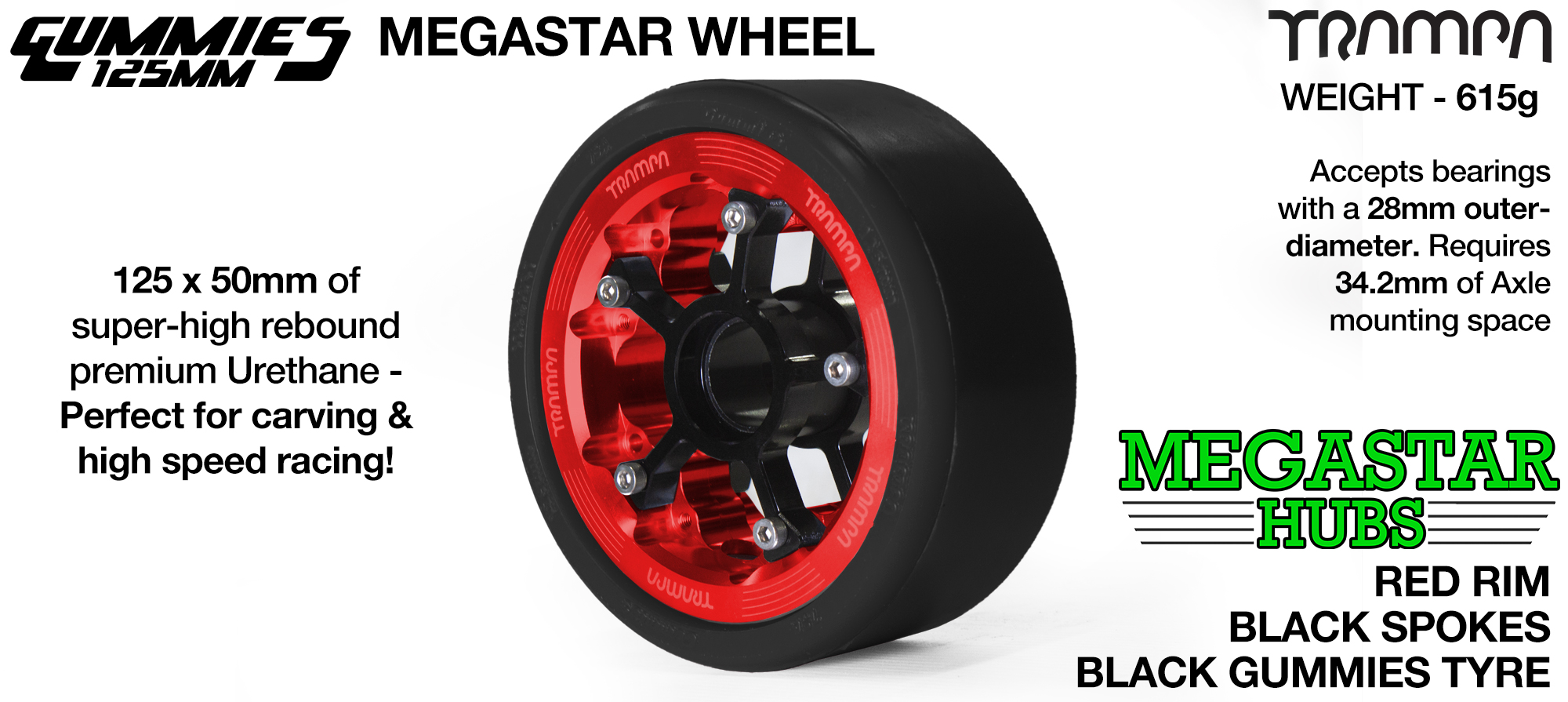 POLISHED MEGASTAR Rim with BRONZE Spokes & BLACK Gummies - The Ulrimate Longboard Wheel