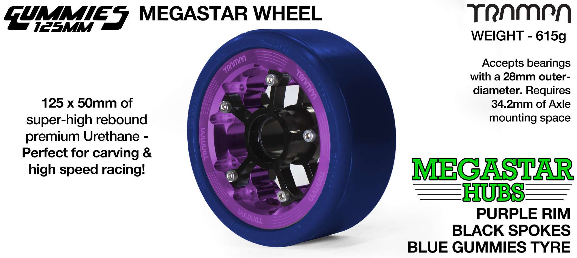 PURPLE MEGASTAR Rim with BLACK Spokes & BLUE Gummies  - The Ulrimate Longboard Wheel