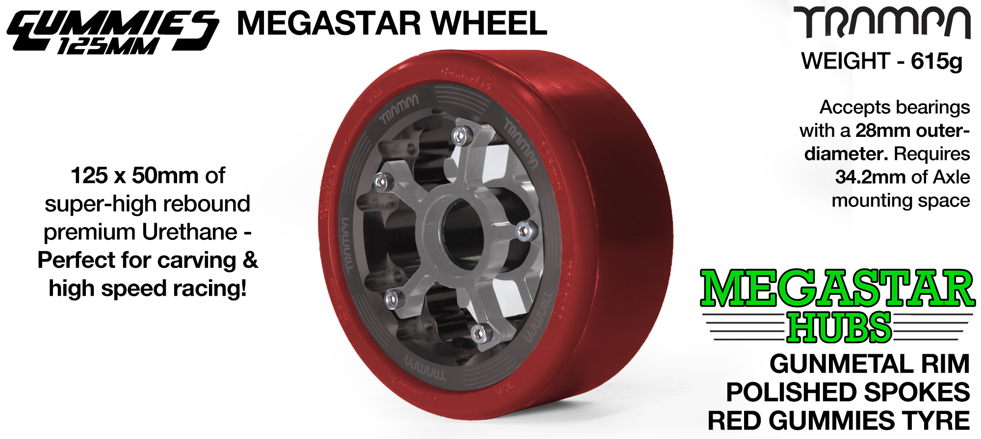 GUNMETAL MEGASTAR Rim with POLISHED Spokes & RED Gummies   - The Ultimate Longboard Wheel