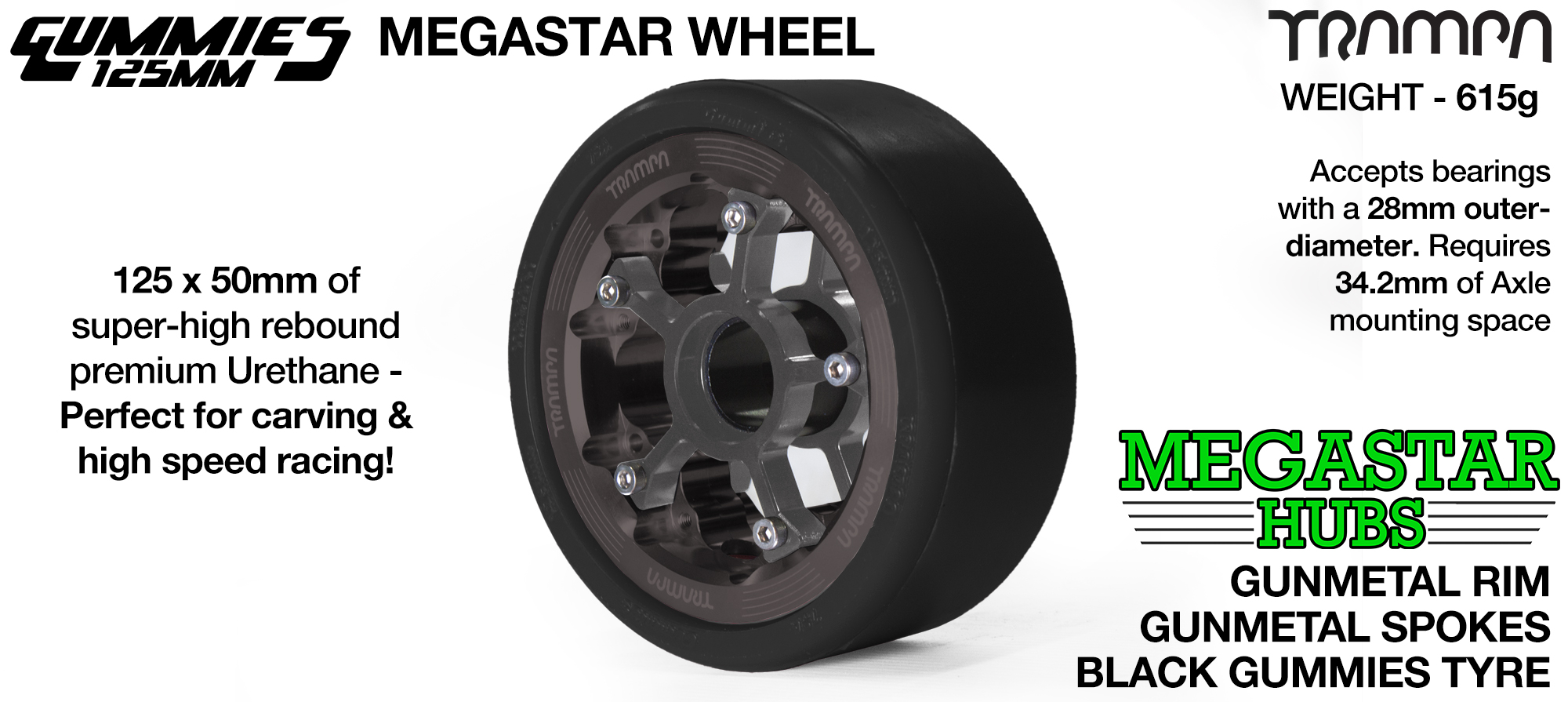 GUNMETAL MEGASTAR Rim with GUNMETAL Spokes & BLACK Gummies - The Ulrimate Longboard Wheel