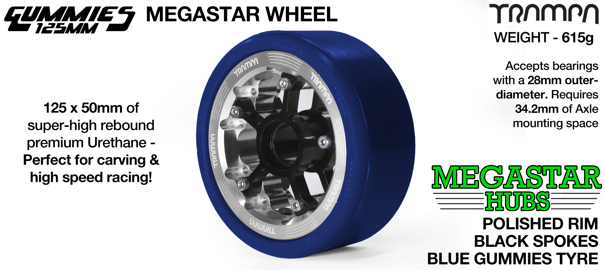 POLISHED MEGASTAR Rim with RED Spokes & BLACK Gummies - The Ulrimate Longboard Wheel