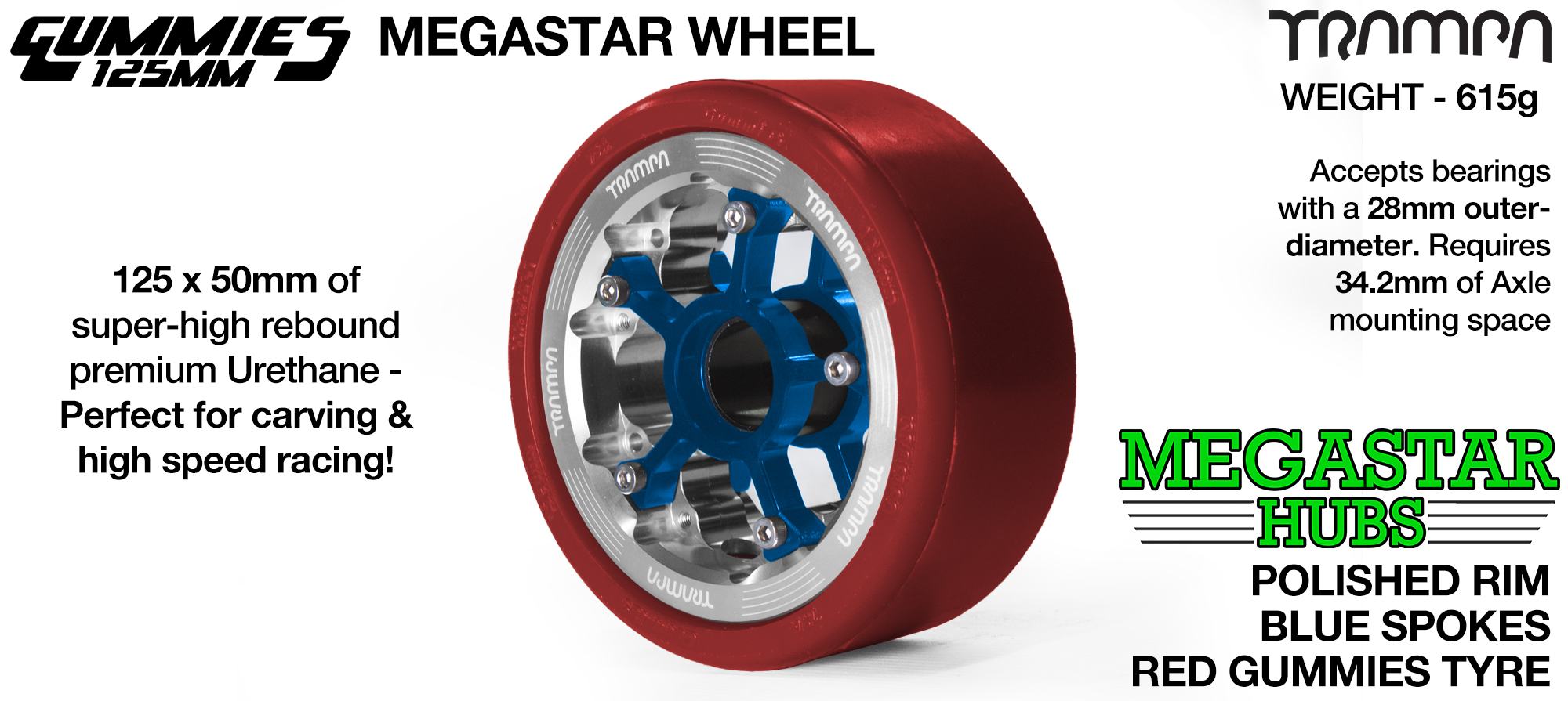 POLISHED MEGASTAR Rim with BLUE Spokes & BLUE Gummies - The Ulrimate Longboard Wheel