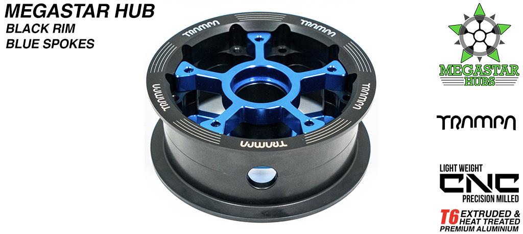8 Inch CENTRE-SET MEGASTAR Hub - BLACK Rim with BLUE Spokes