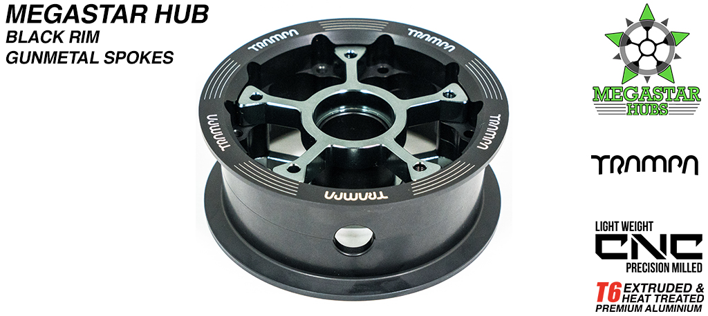 8 Inch CENTRE-SET MEGASTAR Hub - BLACK Rim with GUNMETAL Spokes