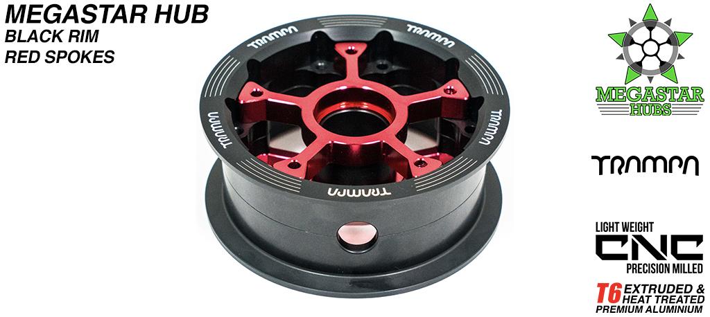 8 Inch CENTRE-SET MEGASTAR Hub - BLACK Rim with RED Spokes