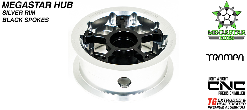 8 Inch CENTER-SET MEGASTAR Hub - SILVER Rim with BLACK Spokes