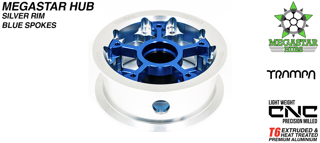 8 Inch CENTER-SET MEGASTAR Hub - SILVER Rim with BLUE Spokes