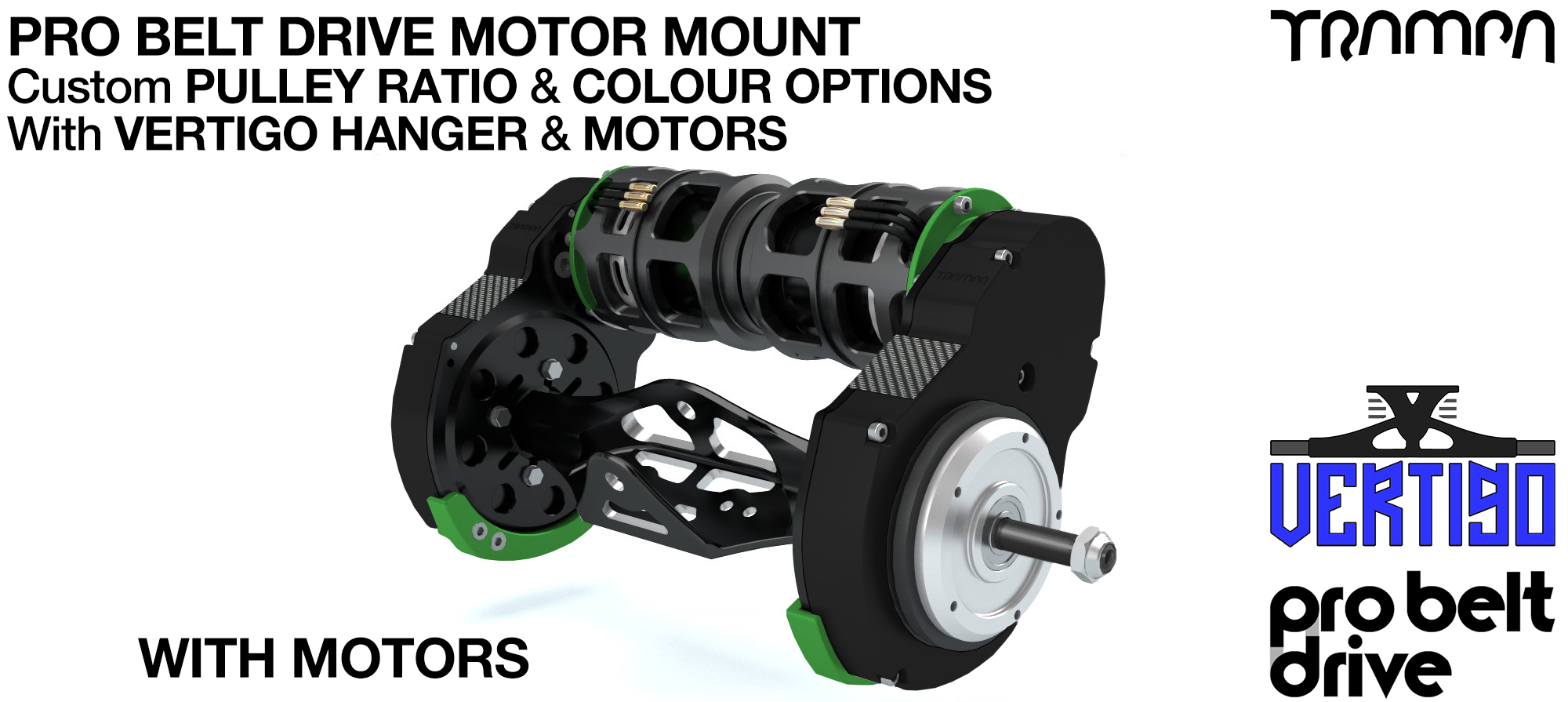 Mountainboard PRO Belt Drive TWIN Motor Mounts WITH Motors & Precision VERTIGO Hanger