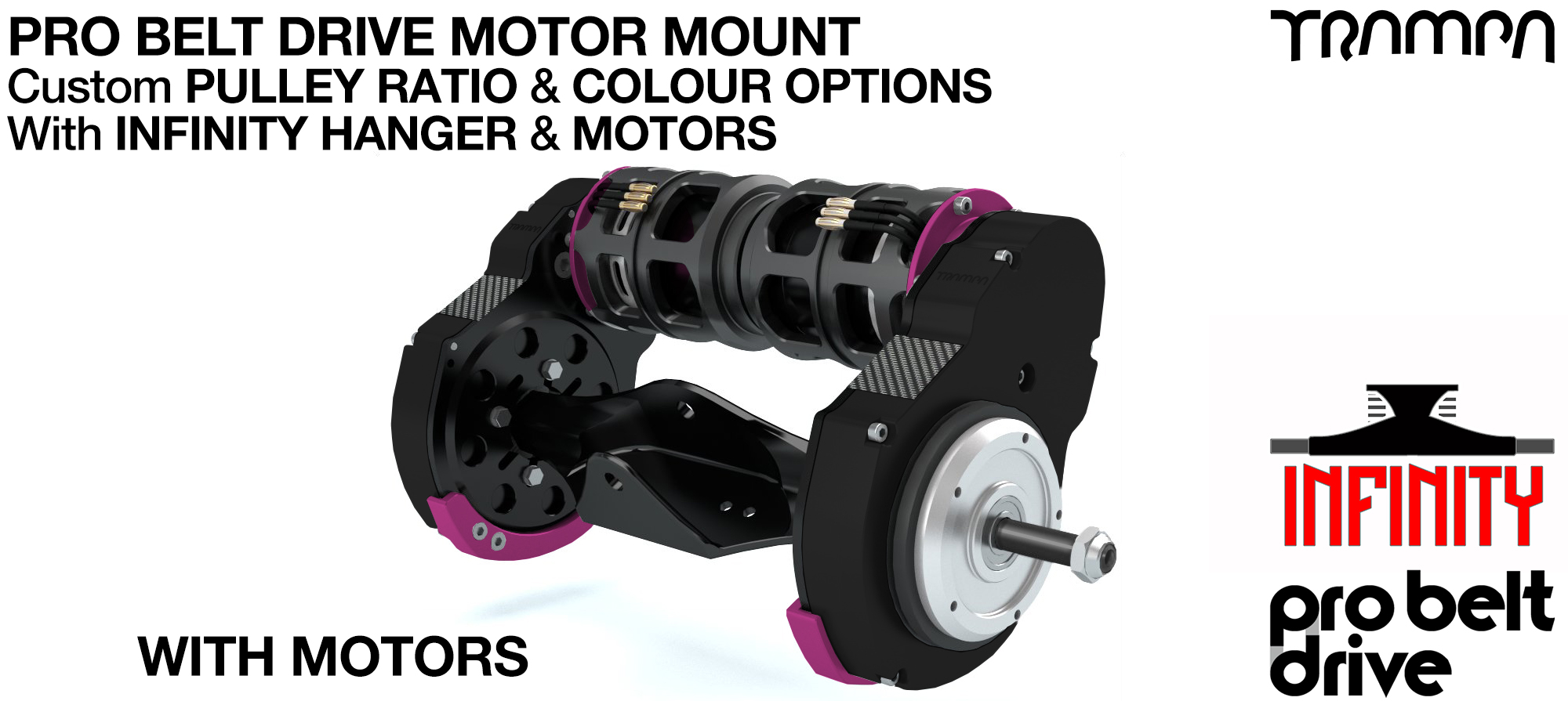 Mountainboard PRO Belt Drive TWIN Motor Mounts WITH Motors & Precision INFINITY Hanger