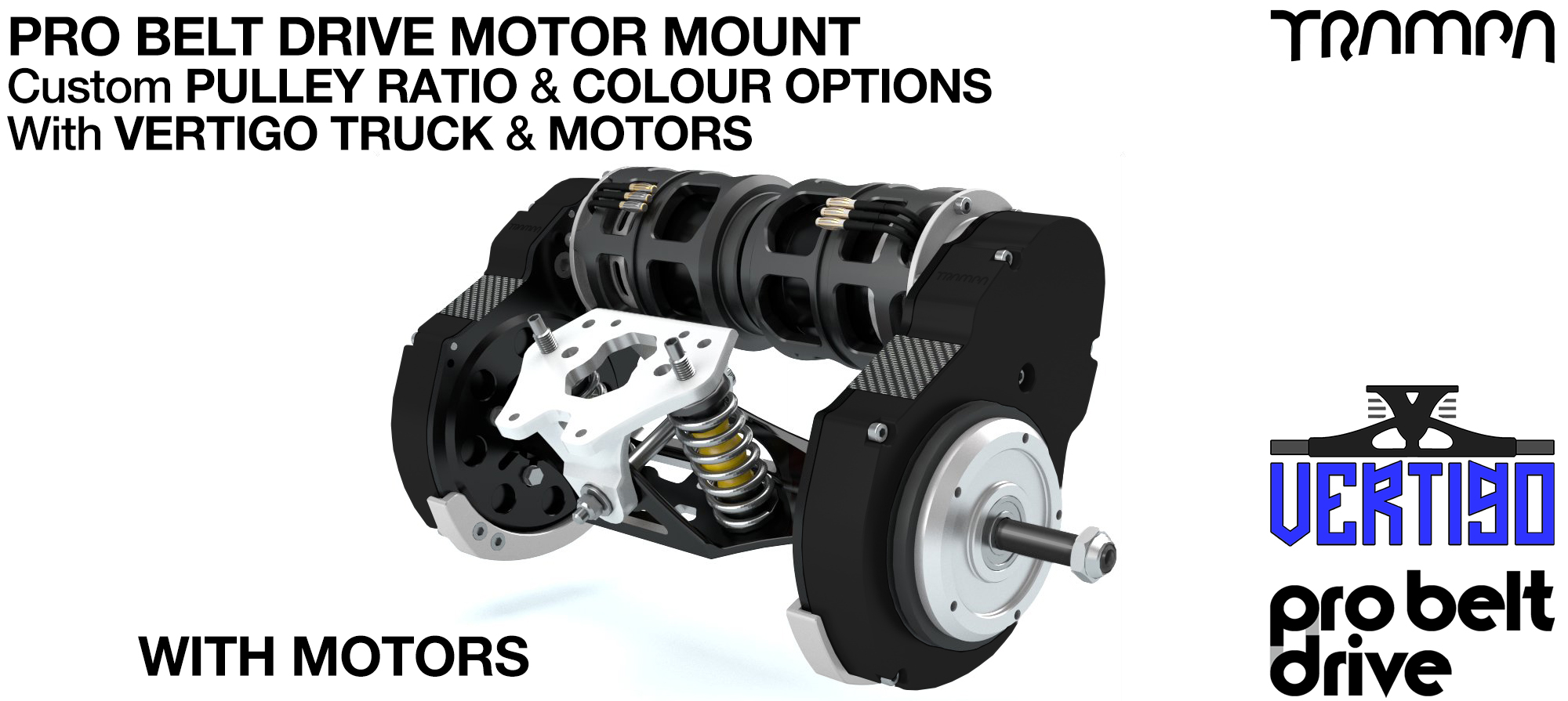Mountainboard PRO Belt Drive TWIN Motor Mounts, Motors & Precision VERTIGO Truck