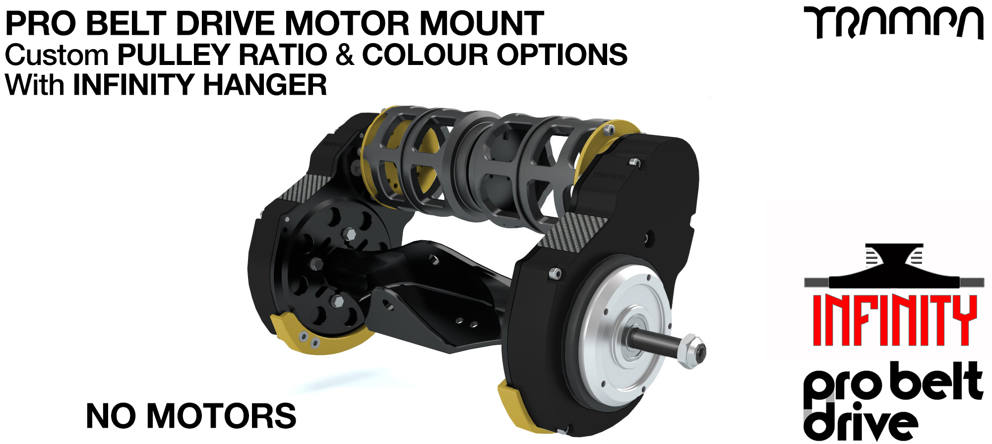 Mountainboard PRO Belt Drive TWIN Motor Mounts, Motors & Precision INFINITY Hanger