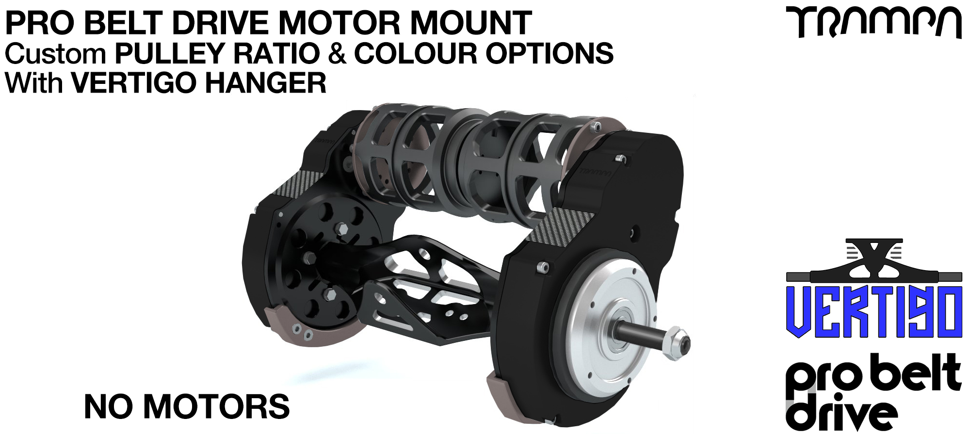 Mountainboard PRO Belt Drive TWIN Motor Mounts, Motors & Precision VERTIGO Hanger