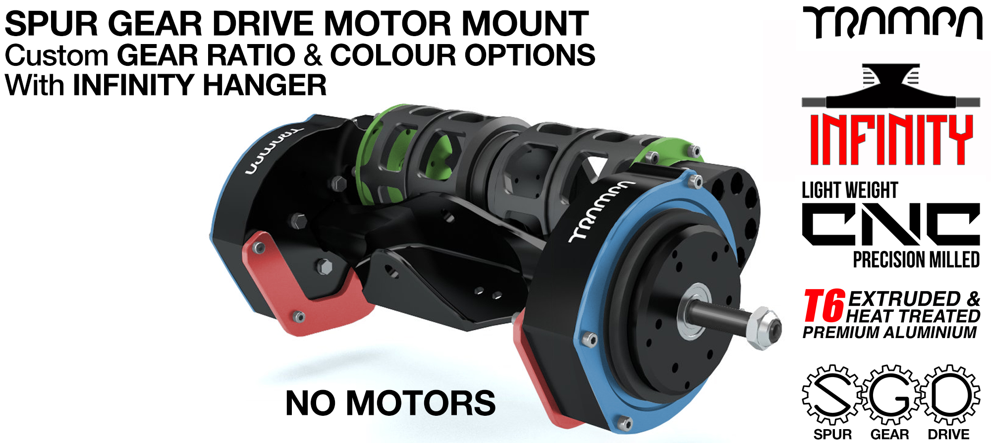Mountainboard EXTERNAL Spur Gear Drive TWIN Motor Mounts & INFINITY Hanger