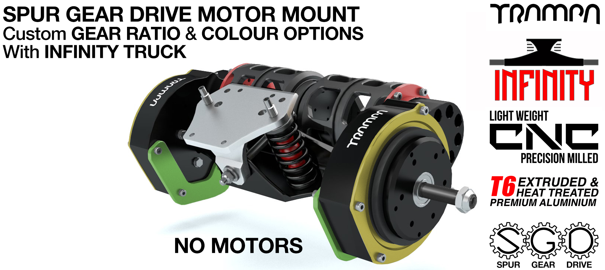 Mountainboard EXTERNAL Spur Gear Drive TWIN Motor Mounts & INFINITY TRUCK
