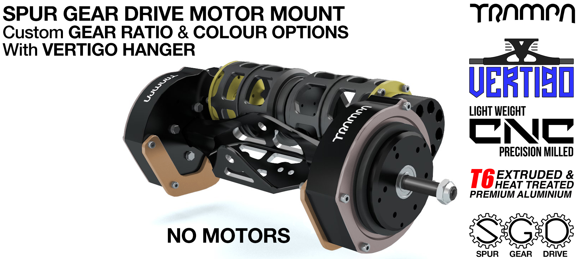 Mountainboard EXTERNAL Spur Gear Drive TWIN Motor Mounts & VERTIGO Hanger