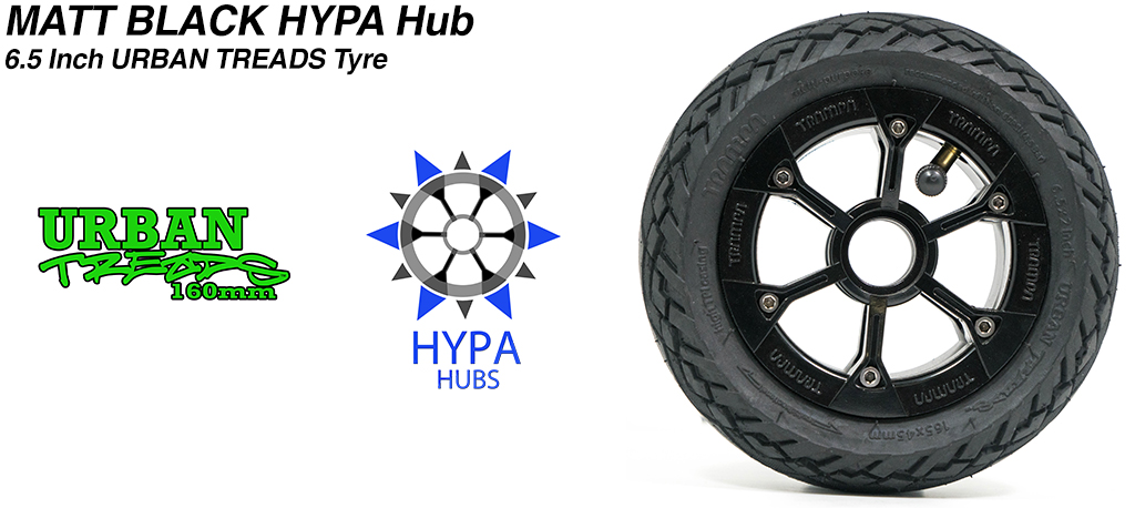 Matt Black HYPA Hub with Low Profile 6.5 Inch URBAN Treads Tyres