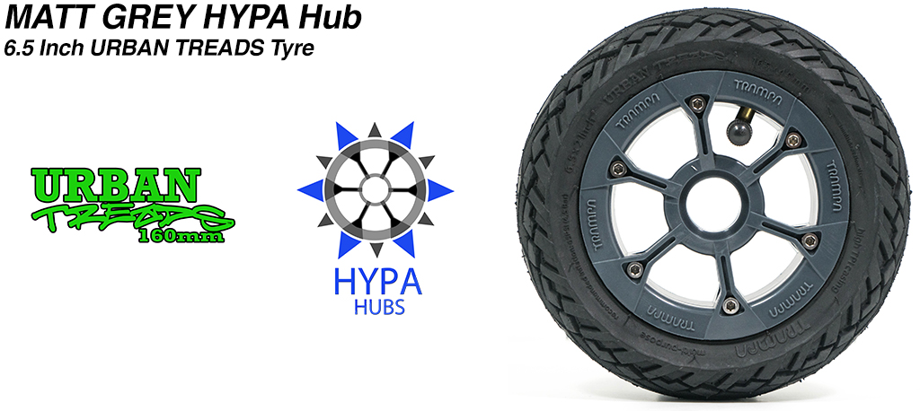 Matt Grey HYPA Hub with Low Profile 6.5 Inch URBAN Treads Tyres