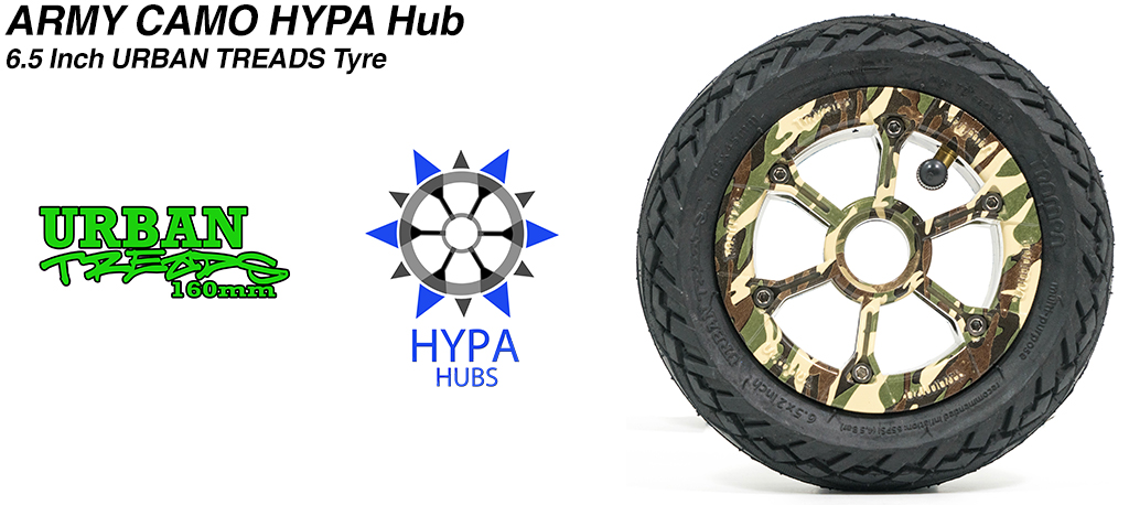 Army Camo HYPA Hub with Low Profile 6.5 Inch URBAN Treads Tyres