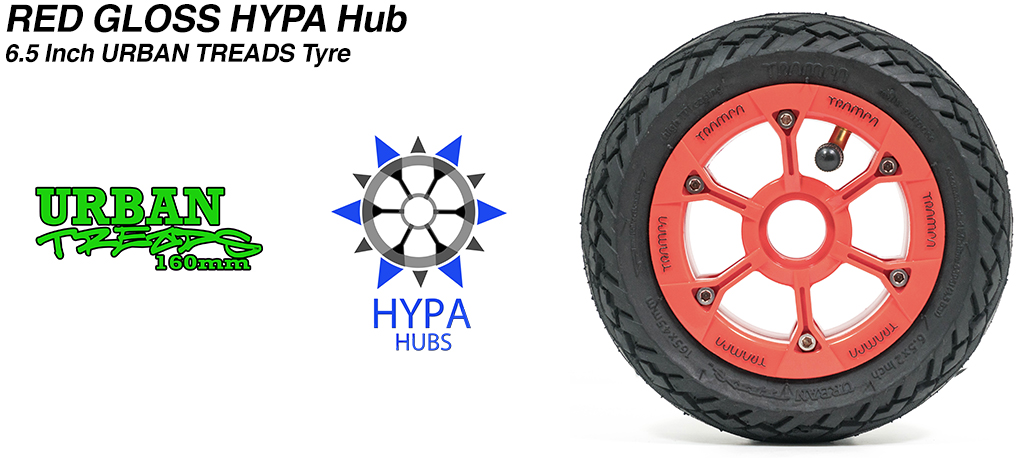 Red Gloss Black Logo HYPA Hub with Low Profile 6.5 Inch URBAN Treads Tyres