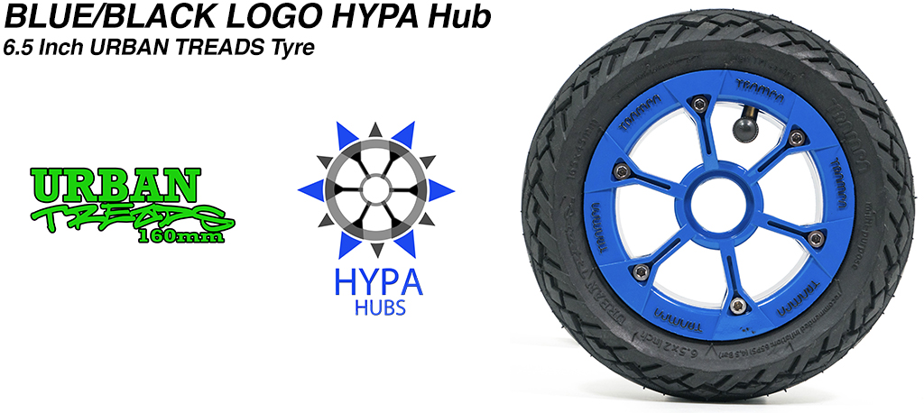 Blue Gloss Black Logo HYPA Hub with Low Profile 6.5 Inch URBAN Treads Tyres