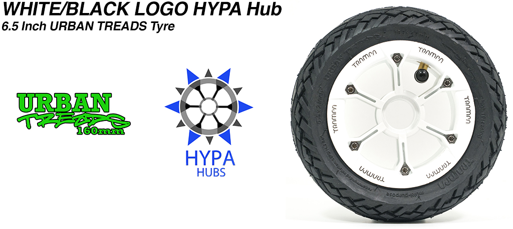 White with Black Logo HYPA Hub with Low Profile 6.5 Inch URBAN Treads Tyres