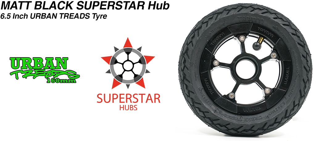 Superstar 6.5 inch wheel - Matt Black SUPERSTAR Rim with Low Profile 6.5 Inch URBAN Treads Tyres