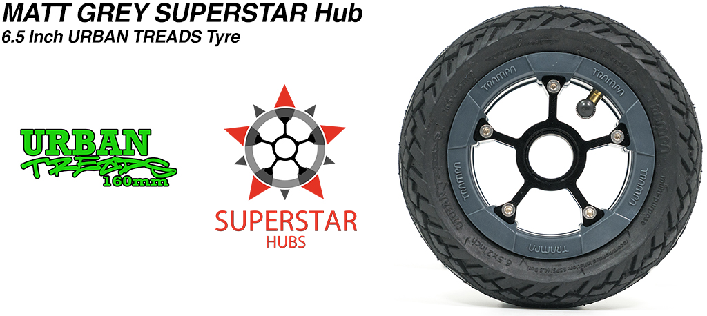 Superstar 6.5 inch wheel - Matt Grey SUPERSTAR Rim with Low Profile 6.5 Inch URBAN Treads Tyres