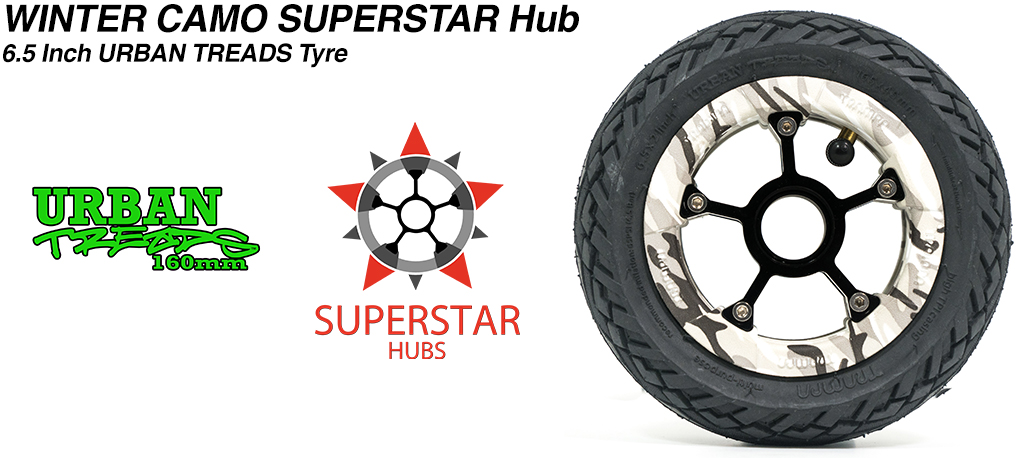 Superstar 6.5 inch wheel - Winter Camo SUPERSTAR Rim with Low Profile 6.5 Inch URBAN Treads Tyres