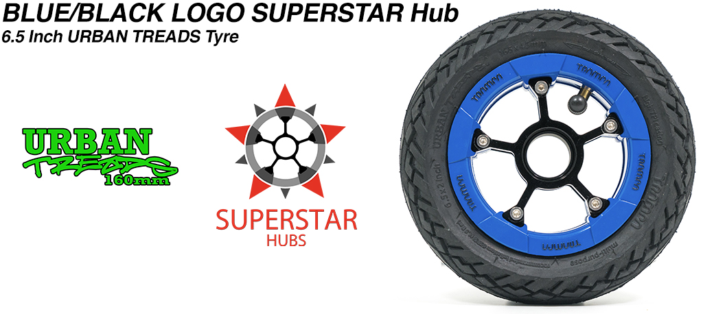 Superstar 6.5 inch wheel - Blue Gloss Black Logo SUPERSTAR Rim with Low Profile 6.5 Inch URBAN Treads Tyres