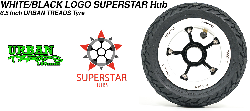 Superstar 6.5 inch wheel - White with Black Logo SUPERSTAR Rim with Low Profile 6.5 Inch URBAN Treads Tyres