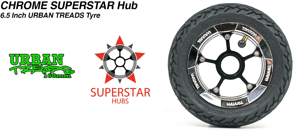 Superstar 6.5 inch wheel - Pimp Chrome SUPERSTAR Rim with Low Profile 6.5 Inch URBAN Treads Tyres