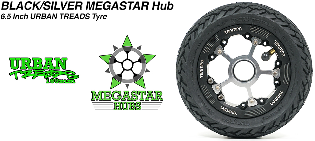 BLACK MEGASTAR Rims with Silver Spokes & the amazing Low Profile 6.5 Inch URBAN Treads Tyres