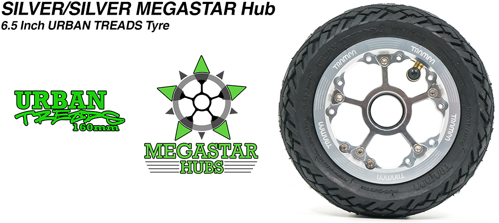 SILVER MEGASTAR Rims with SILVER Spokes & the amazing Low Profile 6.5 Inch URBAN Treads Tyres